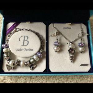 Bella Perlina Charm Bracelet, Necklace & Earrings